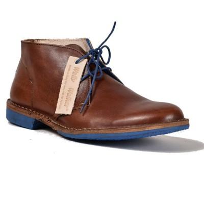 desert boot cagliostro in pelle bovina color cuoio e suola blu