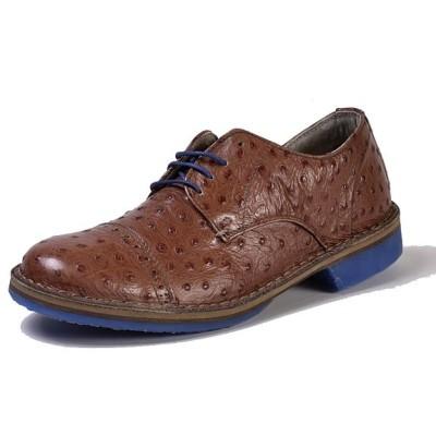 scarpa elegante fanio struzzo nocciola con suola blu