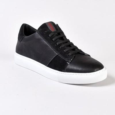 sneaker LAST sauvage black in pelle e scamociato nero e suola bianca a cassetta