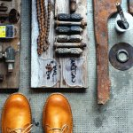 calzatura tazio in pelle giallo ocra
